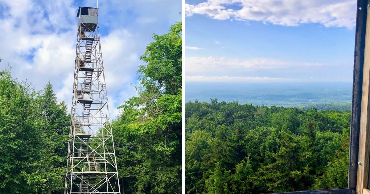 split image with fire tower on the left and view from fire tower on the right