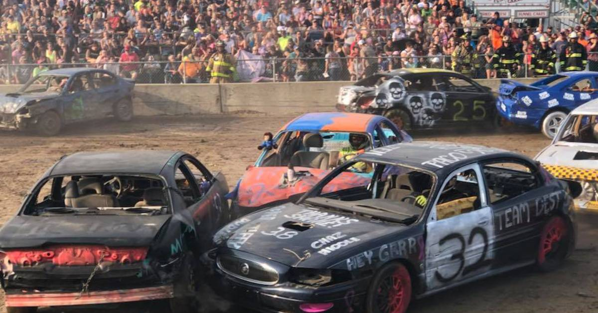 cars in a demo derby