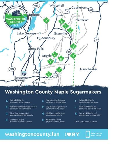 a map of participating washington county maple sugarmakers as listed in the text