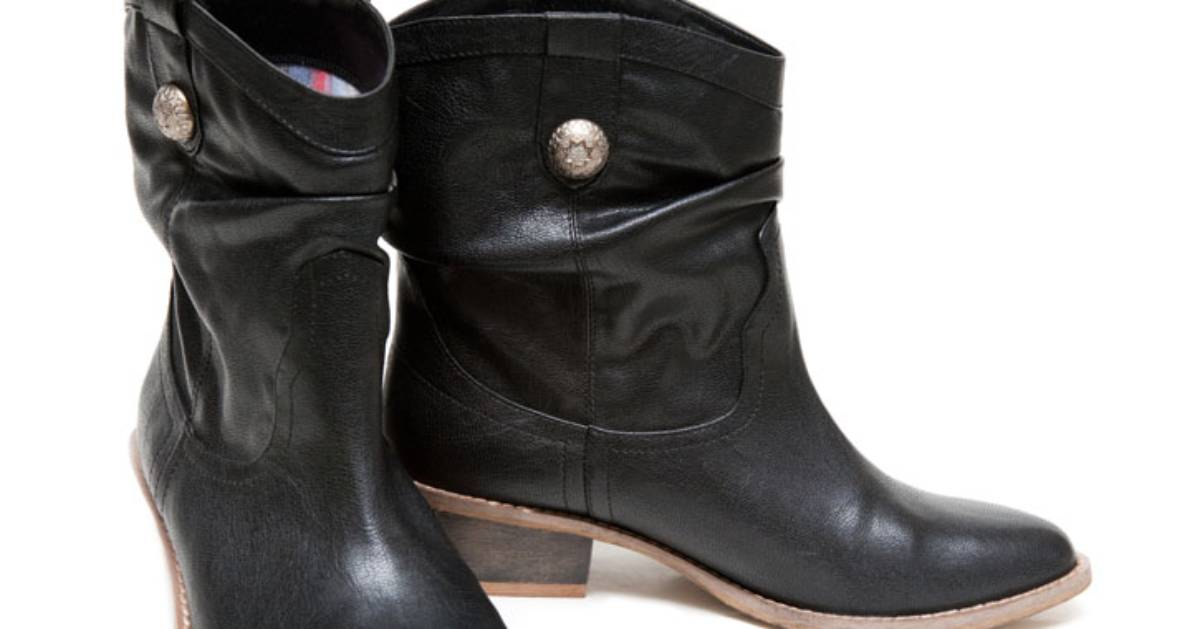 pair of black western boots