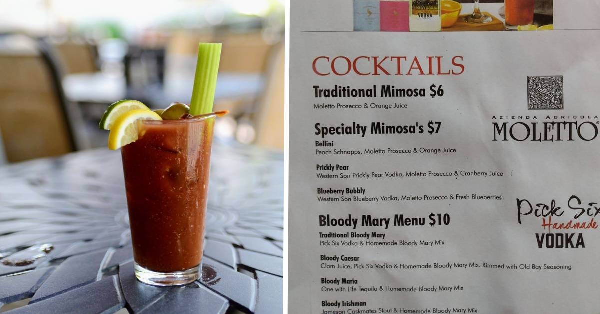split image with bloody mary on the left and cocktail menu on the right