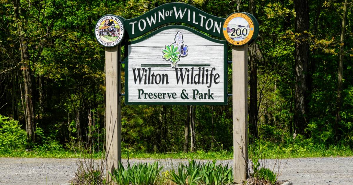 Wilton Wildlife Preserve & Park sign