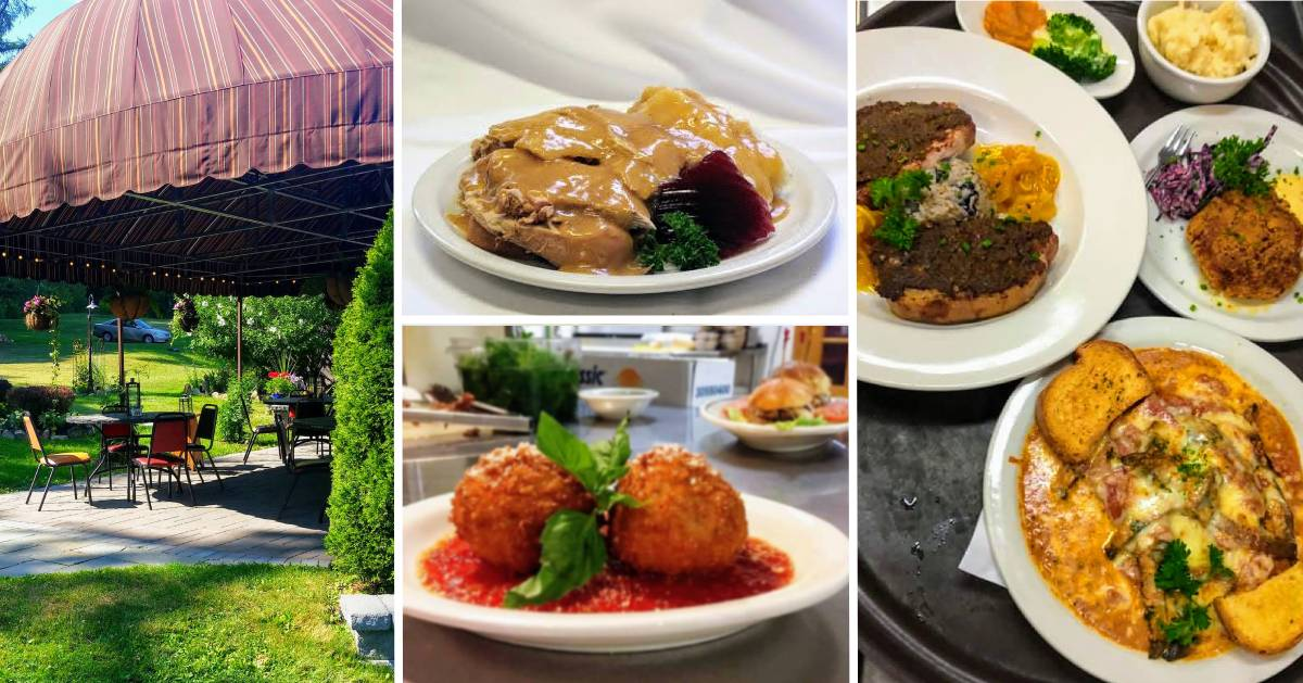 collage of food and outdoor patio