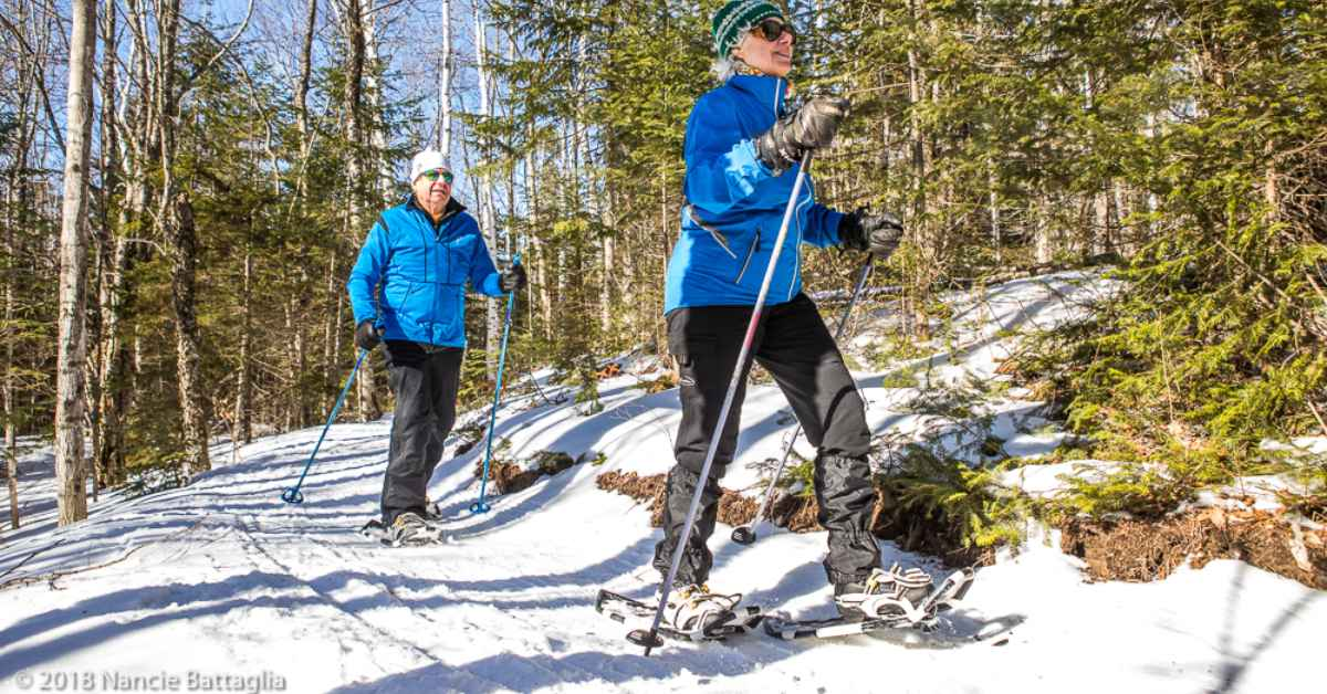 two people in blue coats snowshoeing on trail
