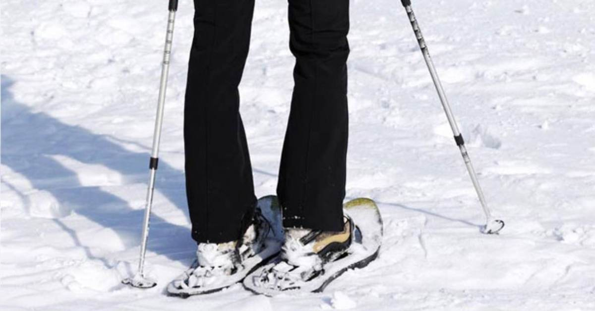 person wearing black pants and snowshoes