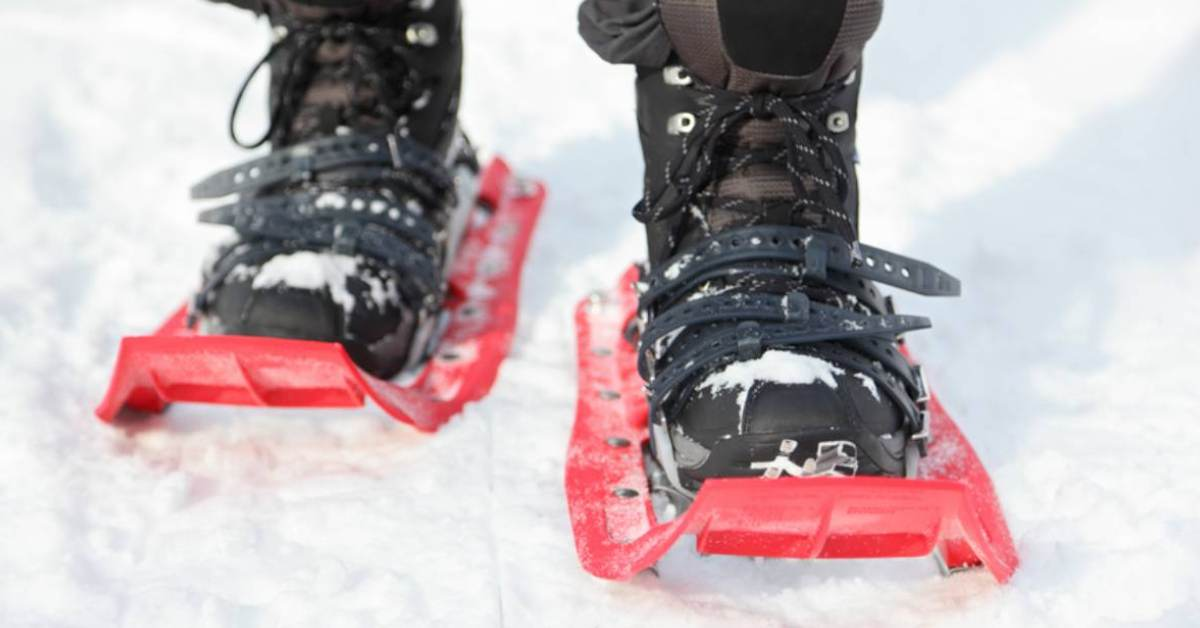 person with pair of red metal snowshoes