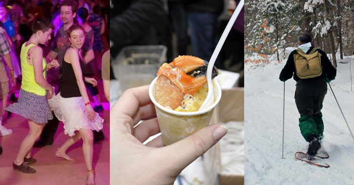 mixed photo of dancers, chowder, and a snowshoer