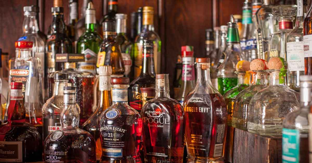 liquors behind a bar