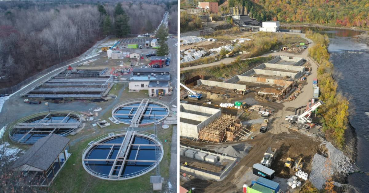 split image of two different construction projects