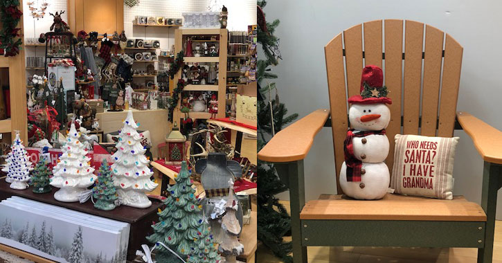 split image with vintage ceramic Christmas trees on the left and a snowman next to a Christmas pillow on the right