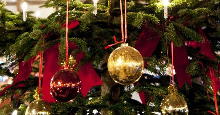 close up of decorations of Christmas tree