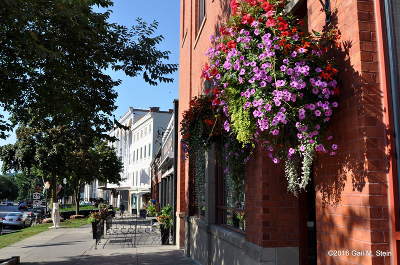 flowers hanging in front of a building in downtown saratoga springs