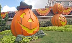 pumpkin decorations on hill