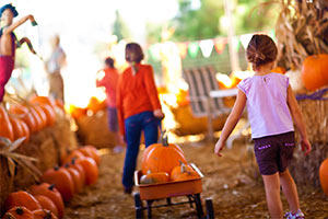 girls pulling wagon with pumpkins