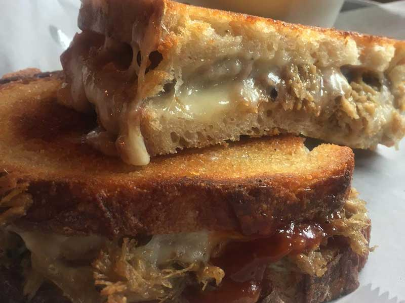 Pulled pork grilled cheese from The Barrelhouse