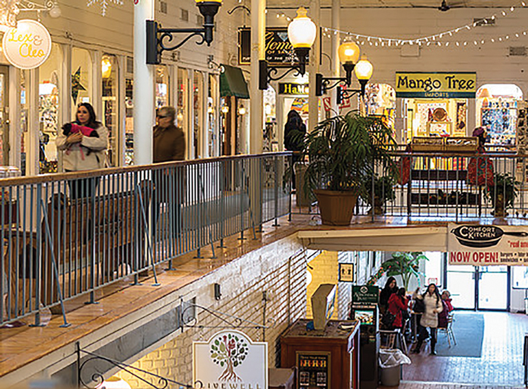 The Saratoga Marketplace in downtown Saratoga Springs has shops and galleries on two floors where shoppers can find a variety intriguing gift ideas. Courtesy Saratoga MArketplace