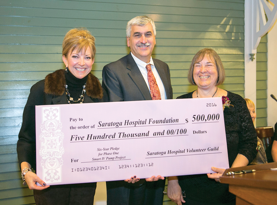 Amy Raimo, left, hospital VP for community engagement; Angelo Calbone, Saratoga Hospital president, and Barbara King, Saratoga Hospital Volunteer Guild, display a check for $500,000. Courtesy Saratoga Hospital