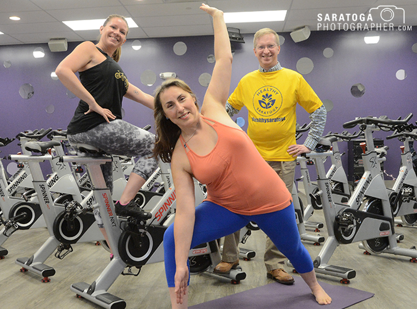 Todd Shimkus, Susan Cuda, center,  and Angela Amedio promote Health and Wellness Week. ©2017 Saratoga Photographer.com