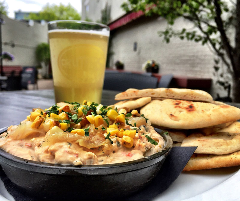 Beer And Creamy Dip On Patio