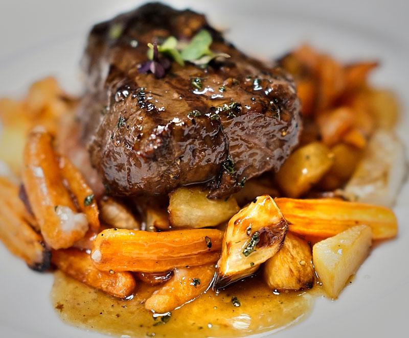 steak and seasonal vegetables