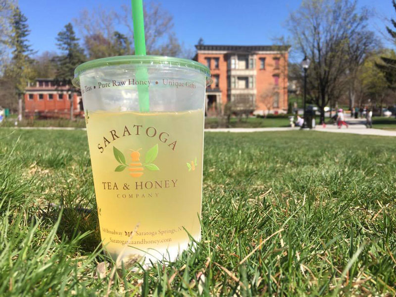 iced tea in grass at saratoga's congress park