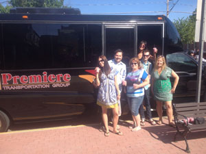 Outside the bus provided by Premiere Transportation