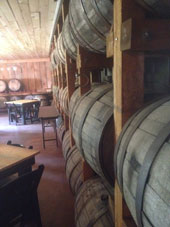 Barrel room at the Saratoga Winery