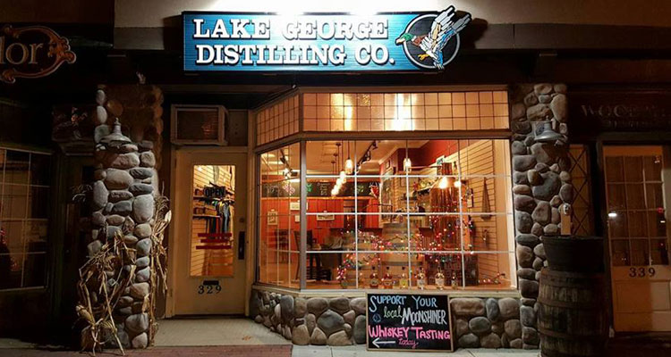 View of Lake George Distilling Company's tasting room store front