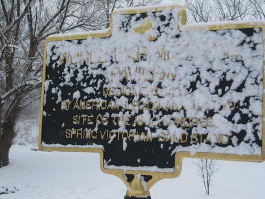 Congress Park in Saratoga Springs in the winter