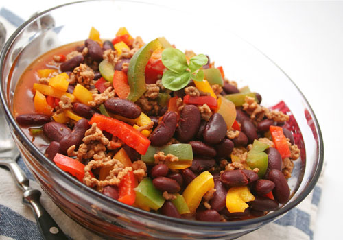 a large bowl of chili