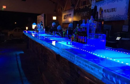 ice bar at mill on round lake