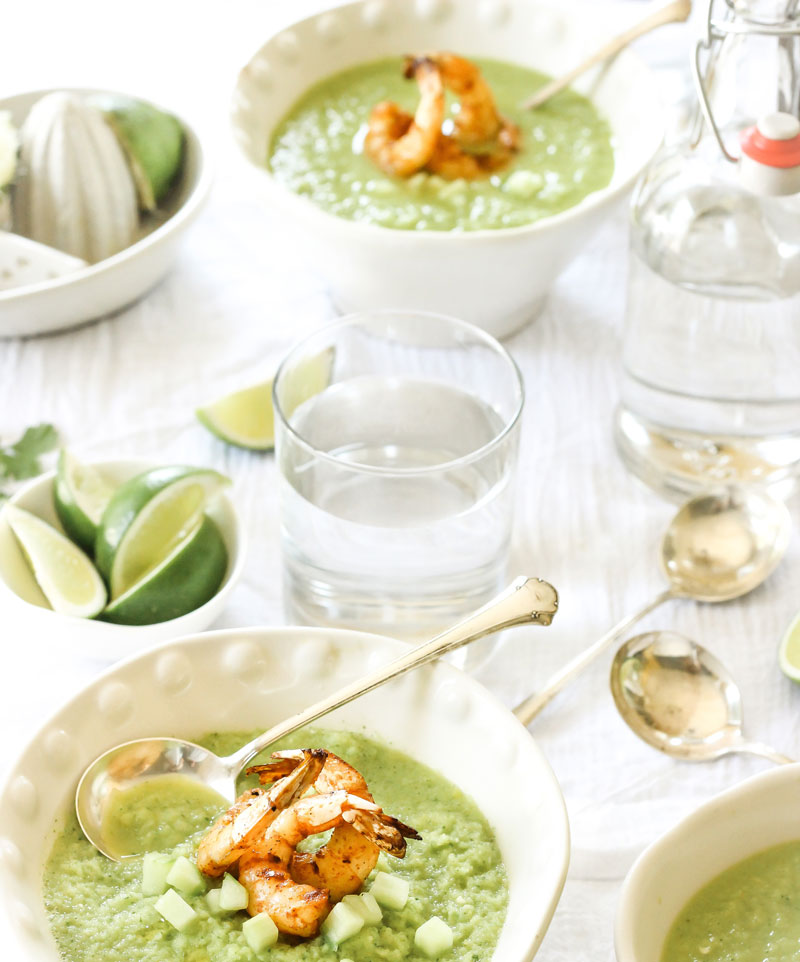 food and water pairing with spicy greens soup and shrimp
