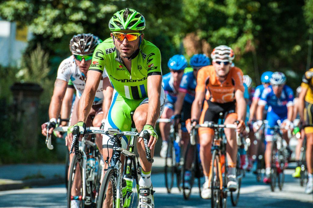 men riding in bike race