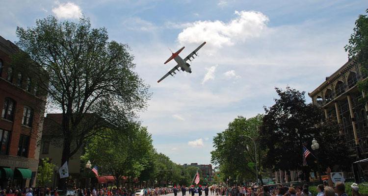 flag day parade airplane