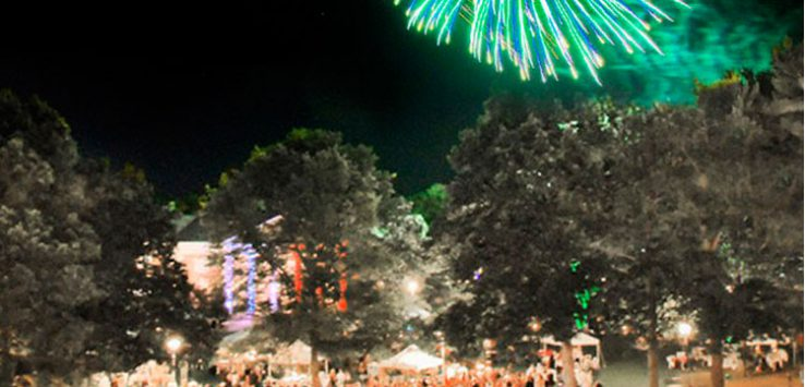 green fireworks display over a party on the lawn at spac
