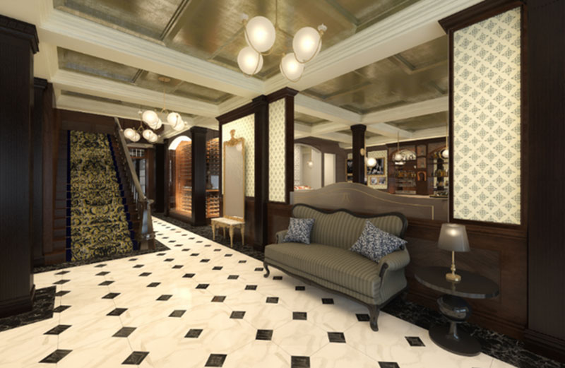 Grand stairscase from the lobby at The Adelphi Hotel in downtown Saratoga Springs