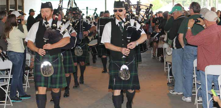 bagpipers marching