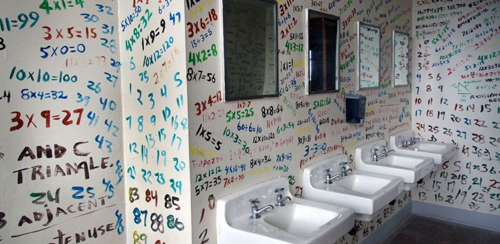 numbers and letters on bathroom wall