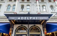 Facade and awning of The Adelphi Hotel