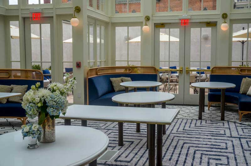 The Blue Hen's atrium seating