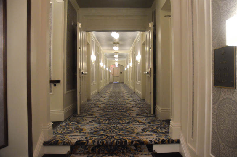 Second floor hallway at The Adelphi Hotel