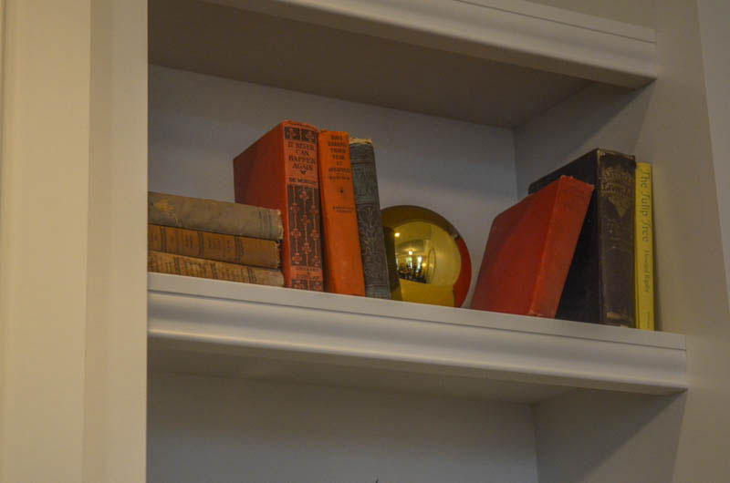 Books on a shelf in The Adelphi's Library