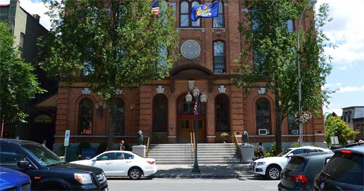 City hall in downtown Saratoga Springs