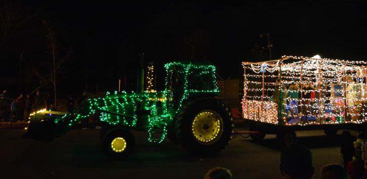 a holiday tractor parade