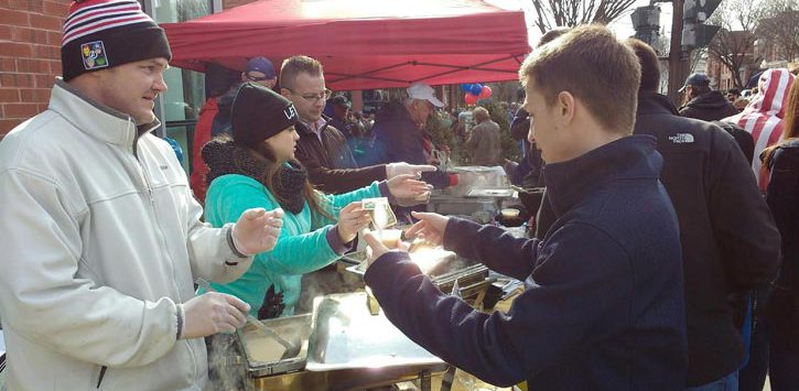 serving chowder outside at a chowderfest