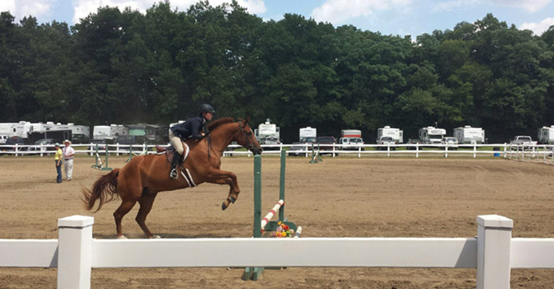 a horse with a rider about to jump over a hurdle