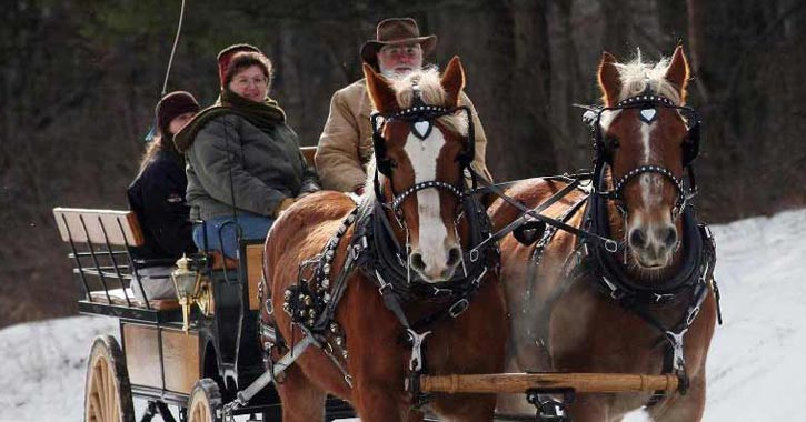 people on a wagon ride in snow