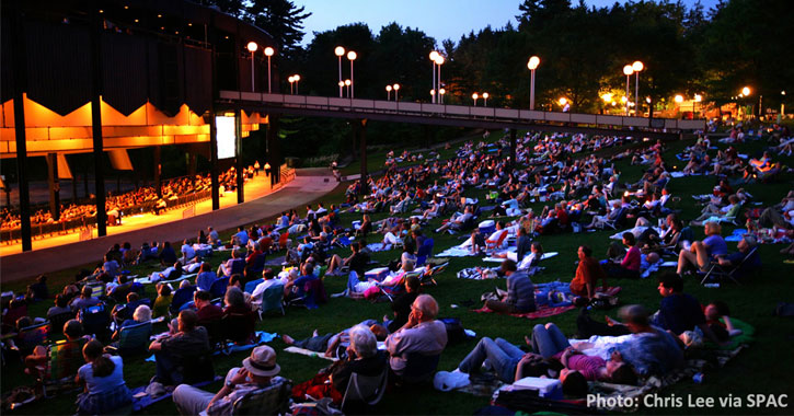 large crowd sitting on the lawn at SPAC