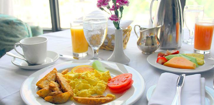 a table with brunch items
