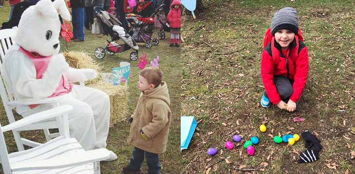 an easter egg hunt and easter bunny